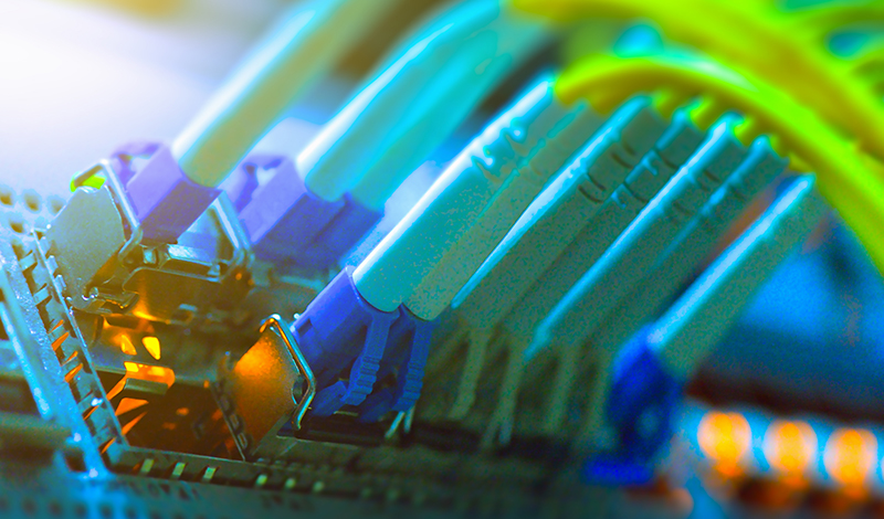 Fiber optic connecting on a core network switch.