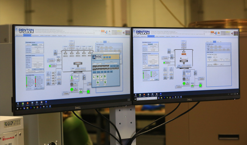 Monitors showing Denton's software system for cluster architecture