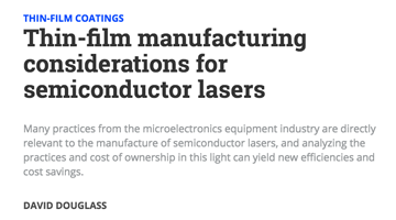 Thin-film manufacturing considerations for semiconductor lasers