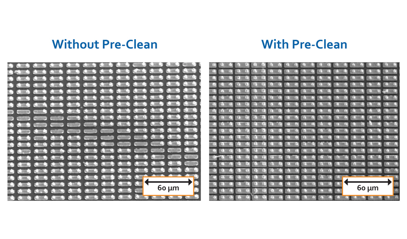 Side-by-side comparison of indium bump arrays without pre-clean and with pre-clean, respectively.